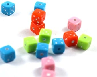 40 pcs beads colorful matching dice mini dice beads approximately 7mm dice beads