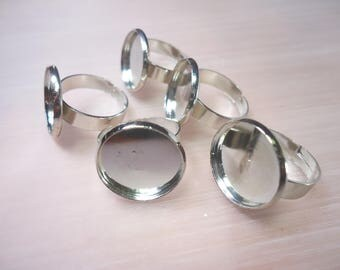 5 silvery ring 16mm cabochon