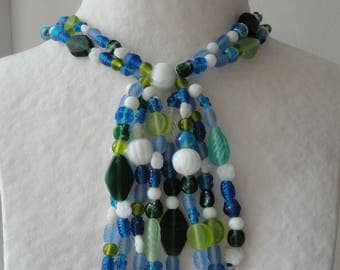 Long necklace glass beads