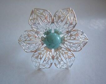 Flower filigree and ceramic Ring turquoise