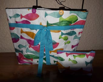 Colorful fish beach bag and its matching pouch.