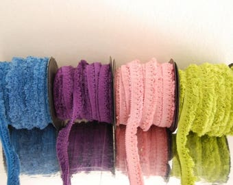 Elastic cotton fringe scalloped 4 colors