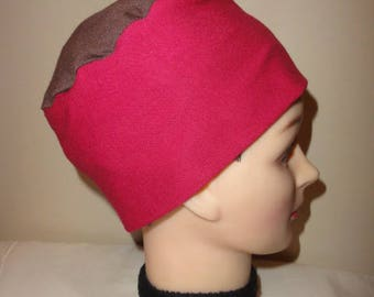 TWO-TONE BROWN JERSEY CHEMO HAT, AND FUCHSIA