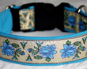 "Dog Collar""Roses"" Jacquard Ribbon Elegant Design for Pet accessories Fashion"