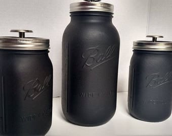 black kitchen canister sets kitchen canister etsy 16427