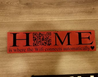 wifi qr scan wood sign