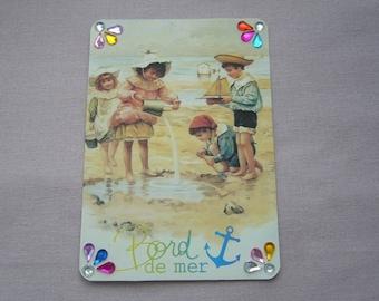 """Retro """"seaside"""" holiday card with envelope - tiara - kids"""