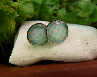 Stud Earrings with cabochon turquoise blue tones