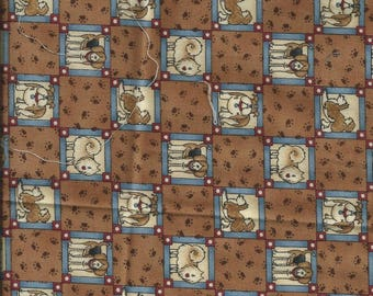 DOGS fabric: Dogs Brown Plaid (coupon 50 x 30 cm) 100% Cotton Patch