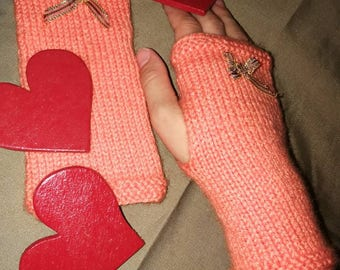 Kids mittens pink and gold bow