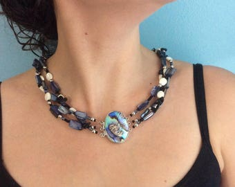Paua shell focal clasp three stranded necklace.  Mother of pearl, paua shell and fresh water pearl strands.