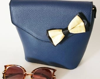 Golden yellow bow and Navy Blue shoulder bag