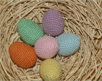 Easter eggs crocheted in a set of 6 large