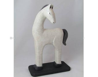 Horse white enameled STEWBALL Raku firing