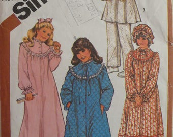 Girls Nightgown, Pajamas, Robe and Hat Pattern - Vintage Simplicity 5674 - Size Medium