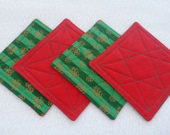 Quilted Coasters for Christmas, Hostess Gift, Housewarming Gift - Green, Red and Gold (set of 4)