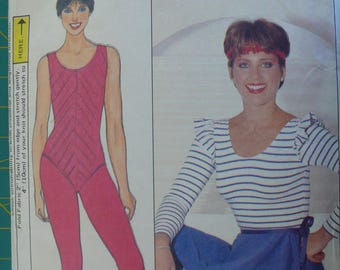 Women's Sportswear, bodysuit, wrap skirt, tights, Vintage Butterick 4819, Dorothy Hamill, Sizes S - L