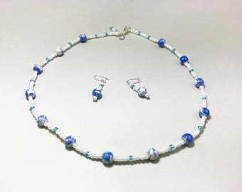 Blue Violet and White Beaded Necklace & Earring Set - Cloudy Blue Sky - Pearlescent Glass Beads - Elegant Women Gift