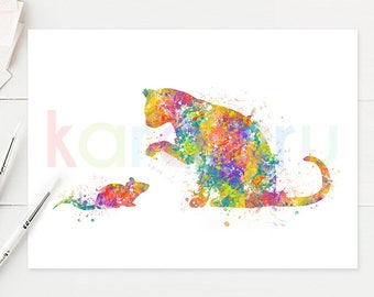 Cat and Mouse Watercolor Art - Cat Watercolor Print - Cat Watercolor Poster - Cat Art - Cat Print - House Warming Gift - A28