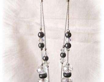 Very long and elegant earrings, hematite and Crystal 2 in 1