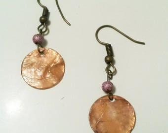 sequin earrings Brown pink pearls