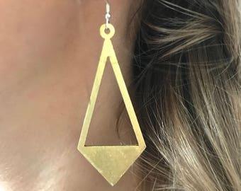 Half filled brass triangle earrings, long earrings, sterling silver wire, gift for her,