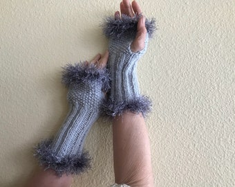 Fingerless gloves with fur effect