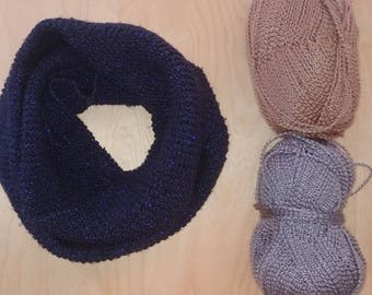 Adult blue hand knitted wool Snood