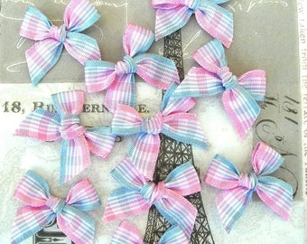 Pink and blue wide striped fabric bow 20 mm