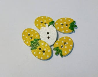 """Lot 6 """"Strawberry"""" yellow wooden buttons"""