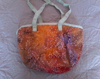 Colorful batik pink orange red shoulder bag
