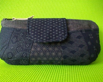 Navy Oriental Patchwork Purse