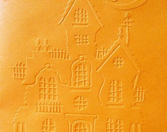 House choice white paper embossed halloween card SCRAPBOOKING