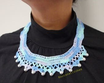Handmade Beaded Crochet Necklace