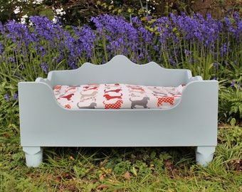 Handmade Painted Wooden Dog Bed