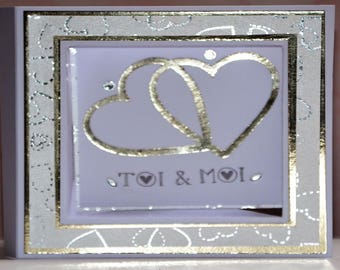 Map frame Saint Valentine hearts entwined