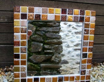 Mosaic mirror gilded with gold foil