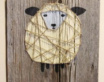 Authentic Barn Wood Sheep Decor