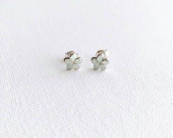 Plumeria Opal Sterling Silver Dainty Earrings