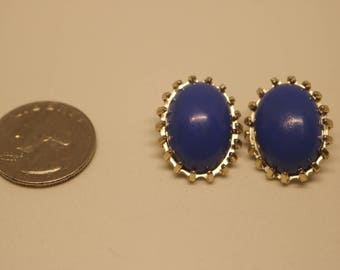 Oval Button Clip On Earrings