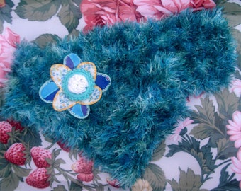 Soft scarf and fabric flower pin