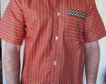 Brown graphic motifs African men shirt