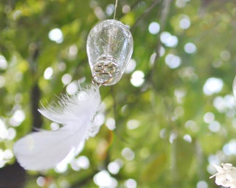 MADE TO ORDER / Wind Bell with Feathers, Wind Chime, Furin, Hanging Bell, Brass Chime / Torimoto Glass Studio