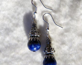 LAPIS LAZULI BLUE STONE 925 SILVER EARRINGS NIGHT CONE ELVEN MEDIEVAL BAROQUE NUGGET