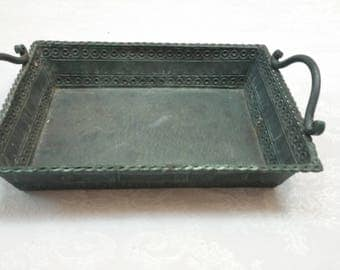 Vintage Metal Tray, Hammered Hand painted Handles, Rustic Farmhouse Serving Tray, Plateau d'étain, French-Home Decor Early 19 60s'