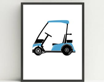 Golf Cart, Nursery Art Print, Kids Golf bedroom decor, Golf Nursery, Golf wall art prints, Choose your color