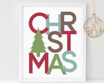Christmas Printable Wall Art, Pine Tree, Christmas Party Hostess Gift, Printable Sign, Decor, Instant download