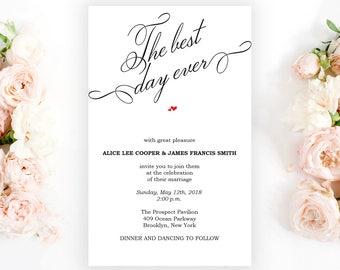 Wedding Invitation Template, Wedding Invitation Printable, Invitation Template, Editable Invitation, Kraft, Instant Download, PDF, #HQT001_1