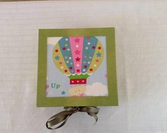Cardboard, fabric decor Balloons and green leatherette gift box
