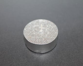 Set of 10 candles with silver glitter